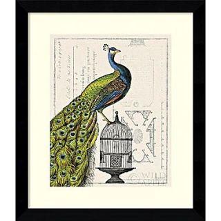 Amanti Art Sue Schlabach Peacock Birdcage I Framed Animal Art, 28.62 x 24.62