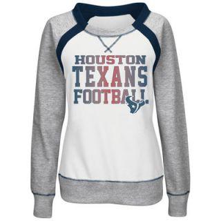 Houston Texans Majestic Womens Counter IV Crew Fleece Sweatshirt   White/Gray
