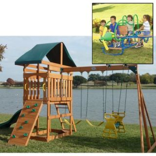 Swing Town Phoenix Swing Set and Airplane Double Teeter Totter Set