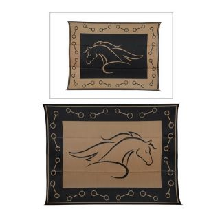 Patio Mats Horse Profile Rectangular Brown Animals Indoor/Outdoor Area Rug (Common: 9 ft x 12 ft; Actual: 9 ft x 12 ft)