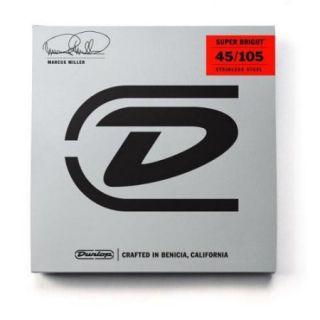 Dunlop DBMMS45105 Marcus Miller Super Bright 4 String Bass Set, 45 105