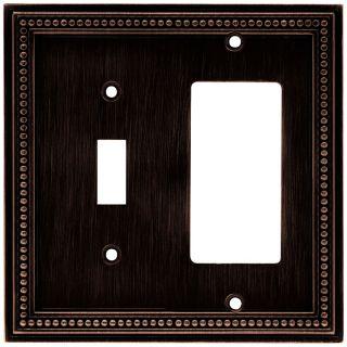 Brainerd Beaded 2 Gang Venetian Bronze Single Toggle/Decorator Wall Plate