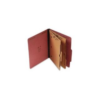 Pressboard Classification Folder with Pockets, Letter, Six Section, Red, 15/Box
