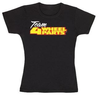 4 Wheel Parts   Team Baby Doll Shirt in Black, Ladies Small