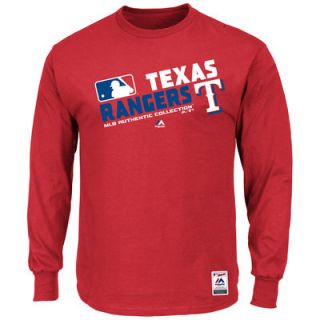 Texas Rangers Majestic Authentic Collection Team Choice Long Sleeve T Shirt   Red
