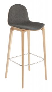 Bob Bar stool   Seat : H 74 cm   Fabric upholstery Natural wood structure   Natural wood shell   Seat : grey fabric by Ondarreta