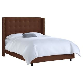 Nail Button Tufted Wingback Bed Linen Chocolate (Queen)   Skyline