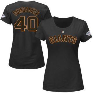 Majestic Madison Bumgarner San Francisco Giants Womens Black 2014 World Series Champions Name & Number T Shirt