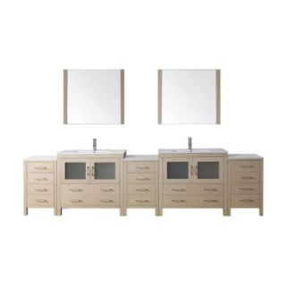 Virtu USA Dior 126 in. Double Vanity in Light Oak with Ceramic Vanity Top in White and Mirrors DISCONTINUED KD 700126 C LO