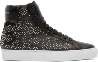 Givenchy: Black Leather Studded High Top Sneakers