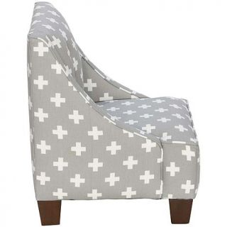 Skyline Furniture 100% Cotton Cross Design Child's Swoop Arm Chair with Buttons   8180809