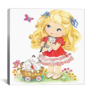 iCanvas Little Blond Girl holding Kitten Canvas Wall Art by Alfredo