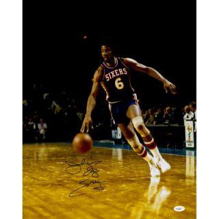 Julius Erving Philadelphia 76ers  Authentic Autographed 16 x 20 Dribbling Photograph with Dr J inscription