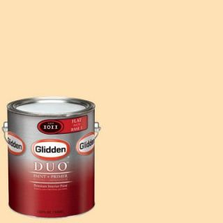 Glidden DUO 1 gal. #GLO18 01F Pineapple Upside Down Cake Flat Interior Paint with Primer GLO18 01F