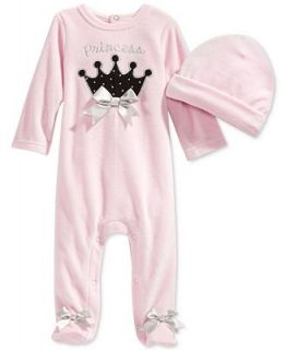 First Impressions Baby Girls Velour Princess Coverall & Hat Set, Only