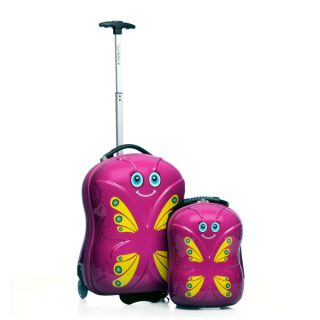 Travel Buddies Bella Butterfly 2 piece Hardside Carry On Kids