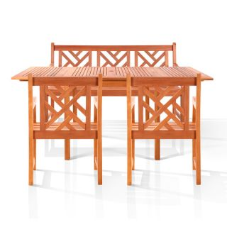 Malibu 4 piece Outdoor Wood Dining Set with 5 foot Bench and Arm