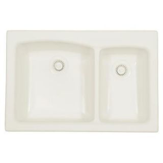 Karran Self Rimming Acrylic 33x22x9 0 Hole 70/30 Double Bowl Kitchen Sink in Bisque/Matte Finish Karran Laguna   Bisque