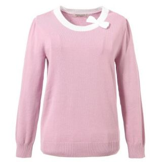 Richie House Little Girls Lilac Solid Color Bow Neckline Pullover Sweater 2 7