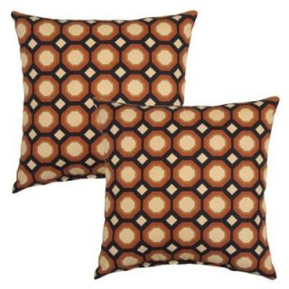 Hampton Bay 16 in. Charcoal Geo Outdoor Toss Pillow (2 Pack) 7050 02225900