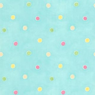 Brewster 56 sq. ft. Sprinkles Aqua Polka Dots Wallpaper 443 90518