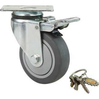 Fairbanks Swivel Total Locking Caster — 4in., Model# 14034022  Up to 299 Lbs.