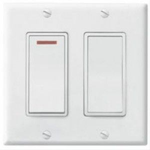 Broan 269WL Combo Switch, 20A 120V 2 Function 2 Gang Control   White