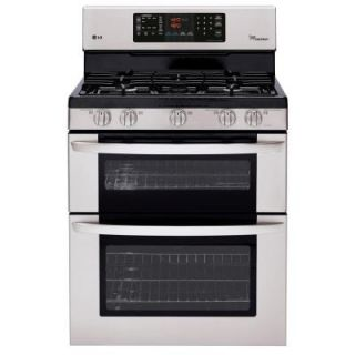 LG Electronics 6.1 cu. ft. Double Oven Gas Range with EasyClean Self Cleaning Oven in Stainless Steel LDG3035ST
