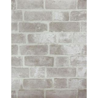 York Wallcoverings Gray, Brick, Cement Gray, Off White, Stone Vinyl Wallpaper