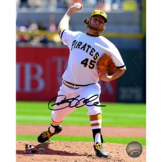 Gerrit Cole Signed Pittsburgh Pirates in White Uniform Pitching 8x10
