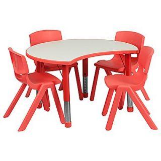 Flash Furniture YU09334CIRTBLRD 25.13 x 35.5 Plastic Semi Circle Activity Table, Red