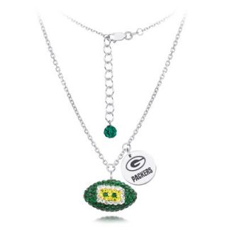 Green Bay Packers Womens Sterling Silver with Austrian Crystals Necklace