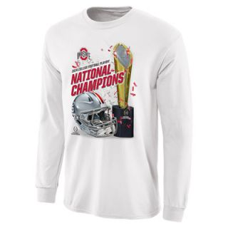 Ohio State Buckeyes 2014 College Football Playoff National Champions Trophy Life Long Sleeve T Shirt   White