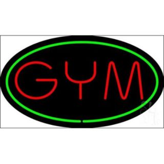 Sign Store N100 1865 clear Gym Oval Green Clear Backing Neon Sign, 30 x 17 x 1 inch