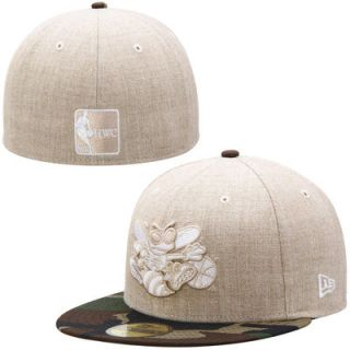 Charlotte Hornets New Era Hardwood Classics Heathered Two Tone 59FIFTY Fitted Hat   Natural/Camo