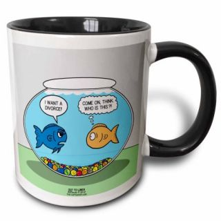 3dRose Out to Lunch Life in a Fishbowl Looks at Divorce, Two Tone Black Mug, 11oz