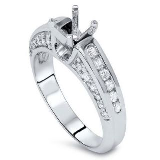 Diamond Engagement Ring Setting 1 Carat 14K White Gold Solitaire Mounting Semi