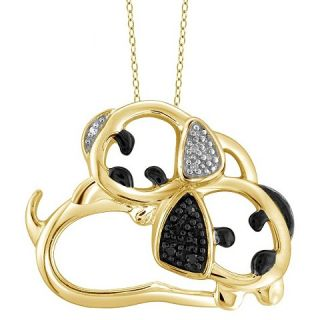 120 CT. T.W. Round Cut Black and White Diamond Pave Set Dog Pendant