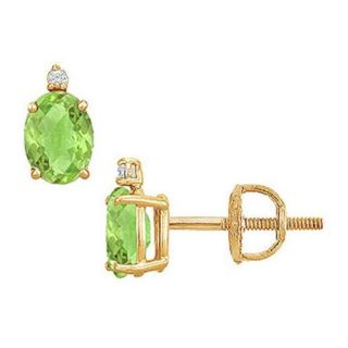 Fine Jewelry Vault UBEROV86PRY Diamond and Peridot Stud Earrings  14K Yellow Gold   2. 04 CT TGW