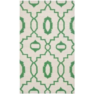 Safavieh Dhurries Ivory/Green 4 ft. x 6 ft. Area Rug DHU205B 4