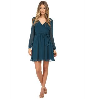 Jessica Simpson Chiffon Long Sleeve Wrap Dress Pine