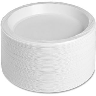 "Genuine Joe Reusable Plastic Plates, White, 10.25"", 125 count"