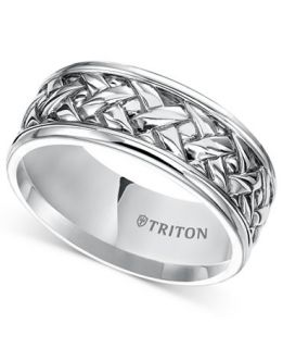 Triton Mens Sterling Silver Ring, 9mm Woven Wedding Band