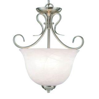 Millennium Lighting 13 in Satin Nickel Vintage Single Alabaster Glass Urn Pendant