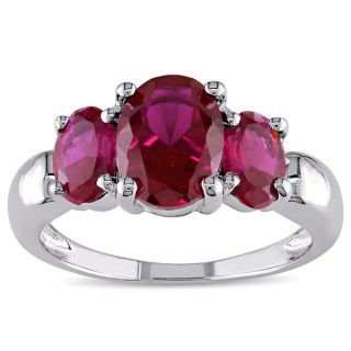by Miadora Sterling Silver Created Ruby 3 stone Ring