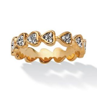 Round Crystal 14k Yellow Gold Plated Band of Hearts Ring   Size 6