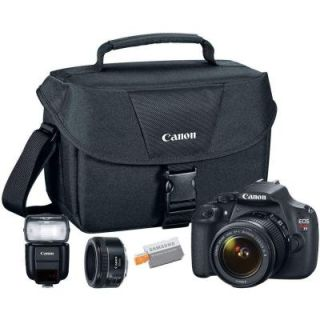 Canon EOS Rebel T5 SLR 18 55 mm Lens and 50 mm Lens Camera with Shoulder Bag, Speedlite and 16GB MicroSD Card 9126B003 5C KIT