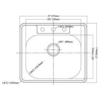 25 x 22 Top Mount Single Bowl Kitchen Sink by Dawn USA