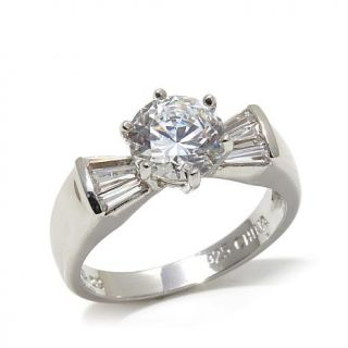 Absolute™ 2.11ctw 6 Prong Solitaire and Tapered Baguette Ring   7832725