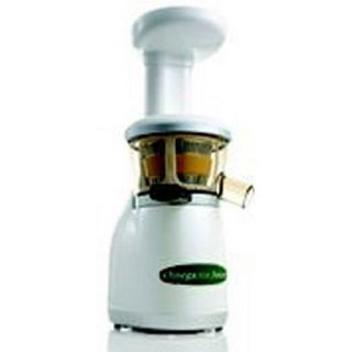 Omega VRT330 Dual Stage Vertical Single Auger Low Speed Juicer, White